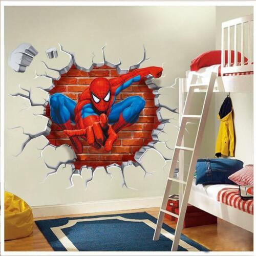 Spiderman Wall Stickers Cartoon Wallpaper 3D DIY Decal Mural Art Bedroom Decor