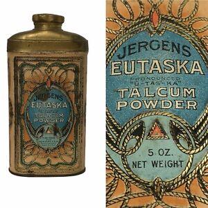 Antique JERGENS EUTASKA Talcum Powder Tin Advertising Vintage (EMPTY)