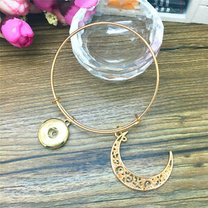Jewellery-Moon-Snaps-Chunk-charm-Button-noosa-Bracelet-Bangle-Gold-color-FB34