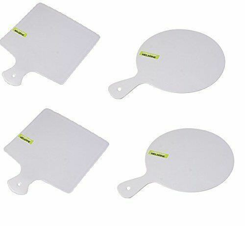 4x Melamine Serving Tray Cutting Board Round Square Paddle
