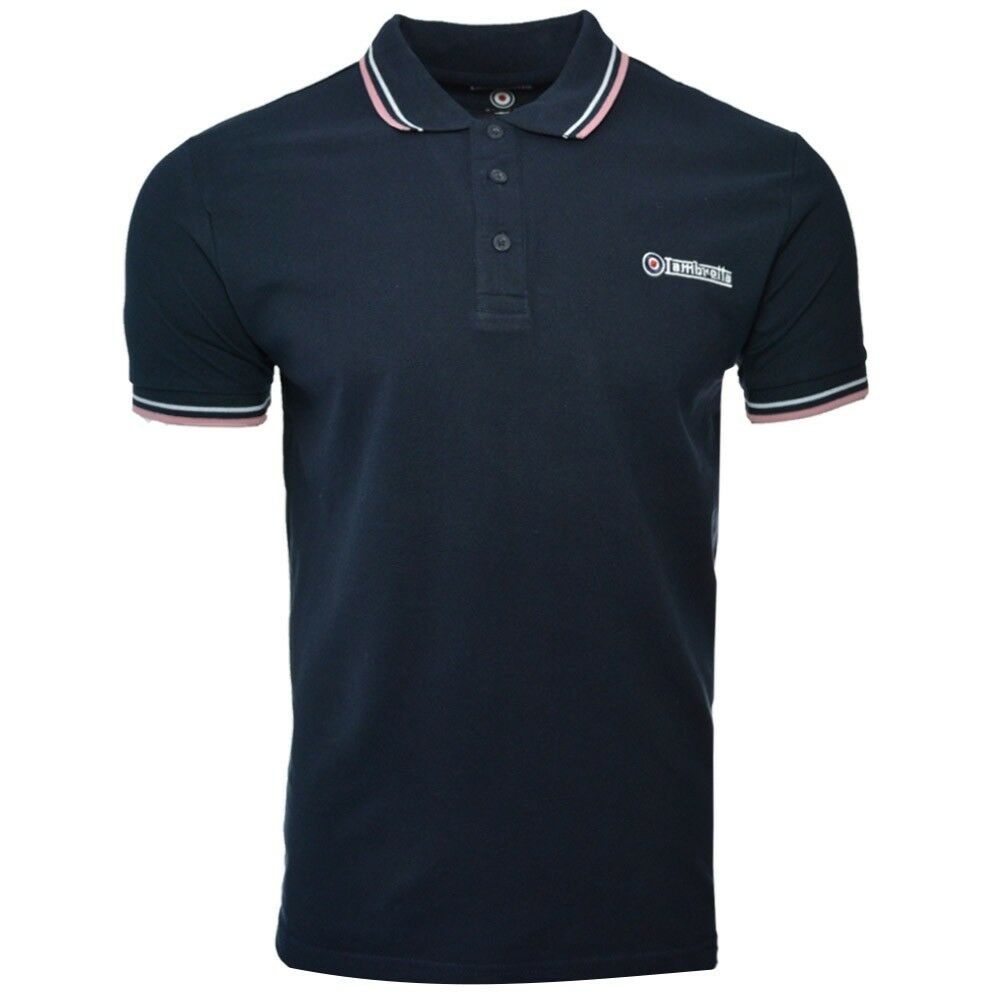 Homme Lambretta Cotton Logo Cible Tip Cotton Lambretta Polo Shirt Ss 1608-Bleu marine/blanc/rose a085b9