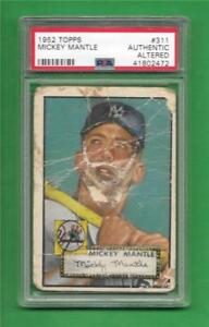 Details About 1952 Topps 311 Mickey Mantle Psa Authentic New York Yankees Baseball Card