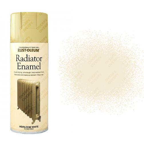 Rust-Oleum Gloss Finish Radiator Enamel Heirloom White Colour Spray Paint  400ml