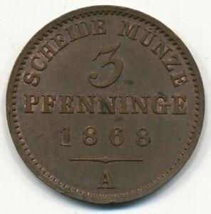 GERMANY, DEUTSCHLAND - 3 Pfennig (Prussia) (A) 1868. (D254)