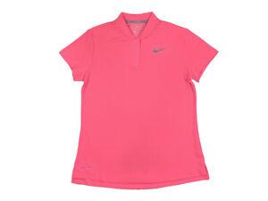 Nike-Golf-Womens-Dri-Fit-Blade-Collar-Polo-Shirt-Bright-Pink-New