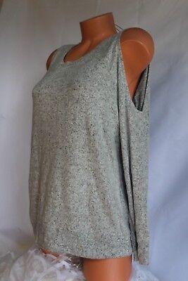 HIPPIE ROSE  Sweater Cold Shoulder BLACK Side Slit Chunky Knit Top   MSRP $44.00