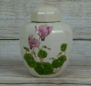 Otagiri-Cyclamen-5-034-Lidded-Ginger-Jar-Pink-Flowers-Lidded-Vase-Japan-Porcelain