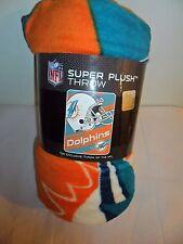 NFL Football Miami Dolphins Fleece Throw Blanket  46 X 60  NEW