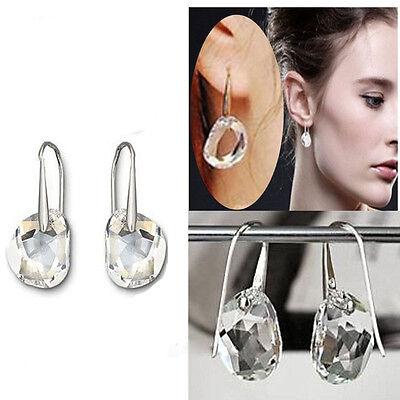Mujer Precioso Pendientes Aretes Diamante Cristal Cuelga Gancho Earrings
