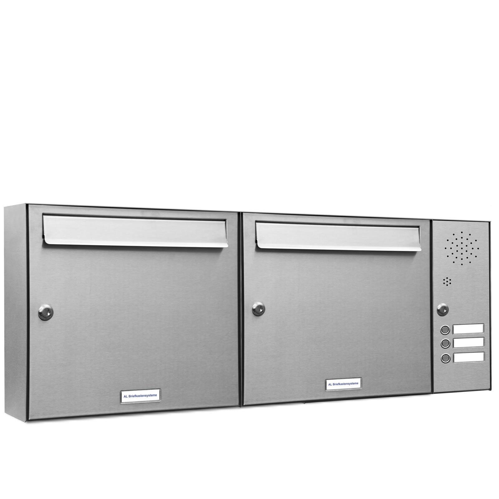 2 er Premium Edelstahl Fach Wand Briefkasten Anlage mit 3 Klingeln A4 Postkasten