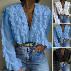 ZANZEA-Women-Ruffled-Top-Shirt-Tee-Low-Cut-Plunging-Deep-V-Long-Sleeve-Blouse