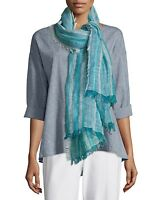 O/s Eileen Fisher Myrtle Catalina Linen Stripe Fringe Scarf $98 on sale