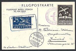 Switzerland covers 1925 special Flight PPC Basel-Zürich