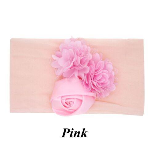 Newborn Baby Girl Nylon Headband Elastic Turban Beanie Hat  Flower Hairband