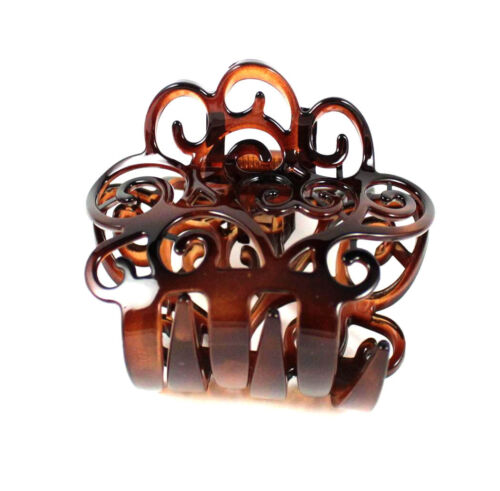 VICTORIAN FRANCE MADE ACETATE HAIR CLAMP CLAW CLIP BARRETTE C12019A AMBER