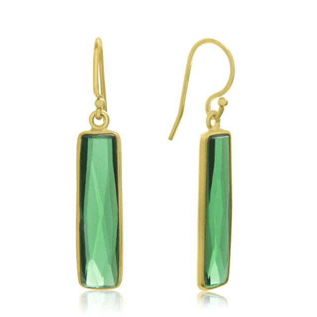 10 Carat Emerald Bar Earrings In 14 Karat Yellow Gold 1 Inch