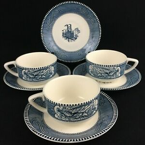 VTG-Set-of-3-Cups-and-4-Saucers-Currier-amp-Ives-Blue-Royal-China-Blue-Steamboat