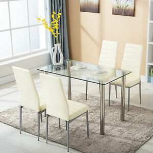 5 Piece Dining Table Set with 4 Chairs Glass Metal Kitchen Room ...