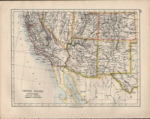 Map Of Arizona Utah And Colorado.Details About 1914 Map United States South West California Arizona Utah Colorado New Mexico
