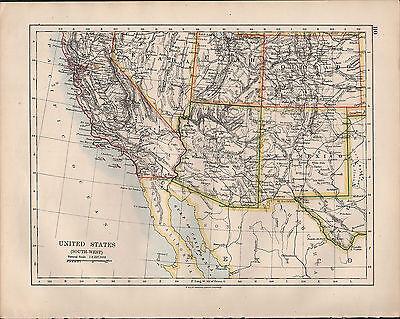 Cartina Usa West.1914 Map United States South West California Arizona Utah Colorado New Mexico Ebay