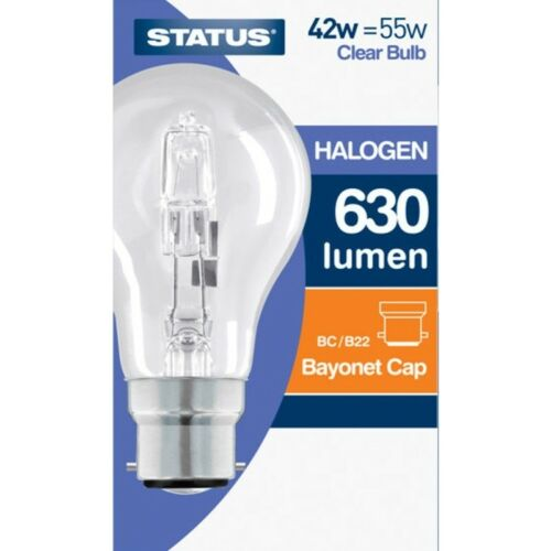Eco Halogen GLS Clear Dimmable BC Light Bulbs 42w=55w NEW