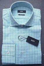 NWT HUGO BOSS MEN'S REGULAR FIT SPREAD COLLAR GREEN PLAIDS DRESS SHIRT 38 15