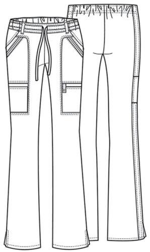 Galaxy Cherokee Scrubs Luxe Low Rise Flare Leg Drawstring Cargo Pants 21100 GABV