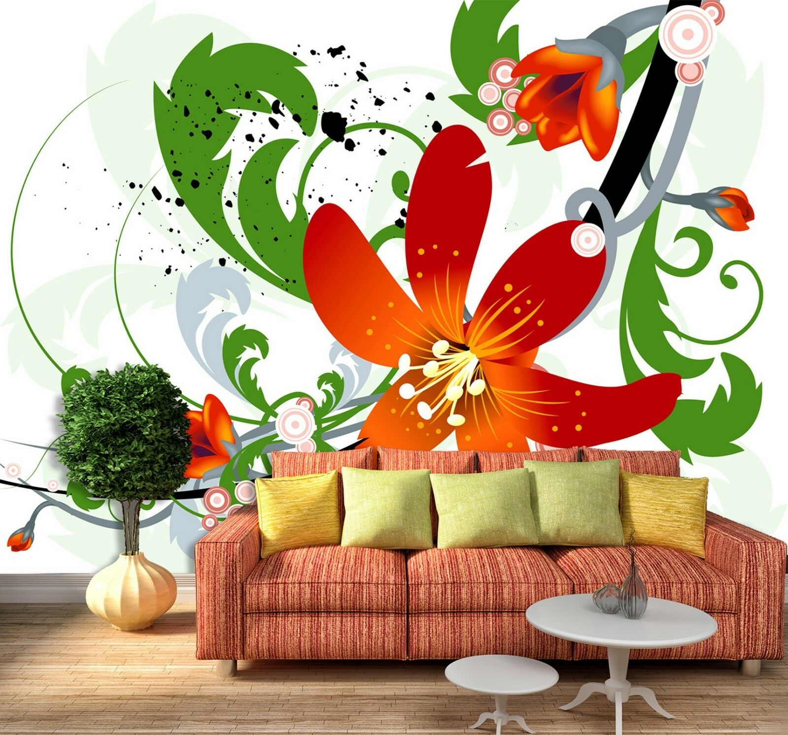 3D orange lily Wall Paper Print Decal Wall Deco Indoor wall Mural