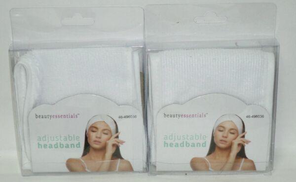 2 Beauty Essentials Regolabile Fascette Per Capelli Con Cinghie Bianco Nip