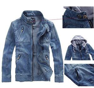 Men Classic Hooded Jean Denim Jacket Hoodie Coat Detachable Cap ...