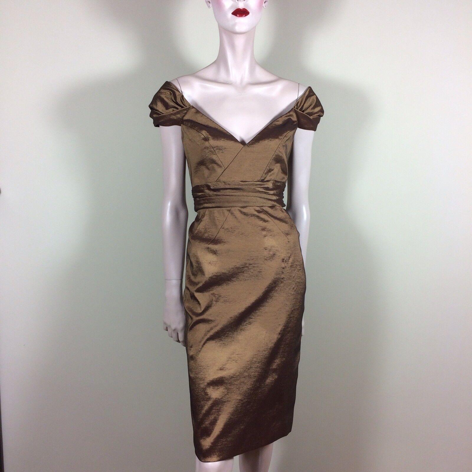BADGLEY MISCHKA Damen Kleid M 38 Gold Eleganter Glamour Style Luxus Dress Classy
