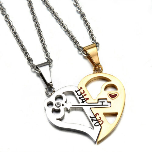 His Queen and Her King Promise Matching Necklace Lover Lock/&Key Couples Necklace