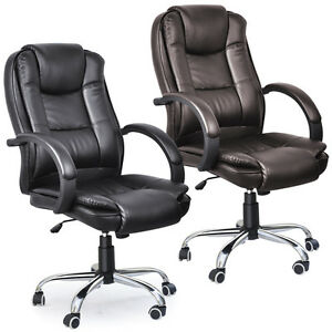 Business PU Leather Faced Swivel Executive Computer Office Chair Heavy Duty N
