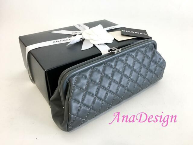 Authentic Chanel Classic Timeless Grey Calfskin Clutch Bag