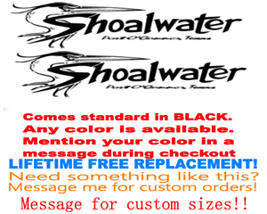 """PAIR OF 8/"""" X 18/"""" SHOALWATER BOAT HULL DECALS MARINE GR YOUR COLOR CHOICE 82"""