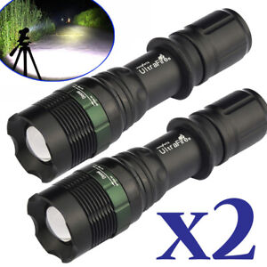 2PCS 200000 Lumens Tactical T6 Zoomable LED Flashlight Torch Lamp Light Outdoor