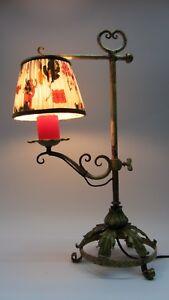 Nouveau Lampada Lampada Da Tavolo Art Nouveau Forca Lampada Ferro Battuto Alla Fiorentina Ebay