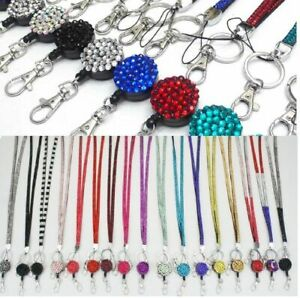 LANYARD-ID-HOLDER-NECK-STRAP-RHINESTONE-RETRACTABLE-REEL-HOLDER