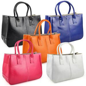 Fashion-Damen-Klasse-PU-Leder-Handtasche-Orange-R6P4-Z2F4