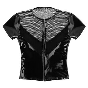 Mens-Wetlook-Leather-Fishnet-Splice-Tank-Top-T-Shirt-Short-Sleeve-Shirt-Clubwear