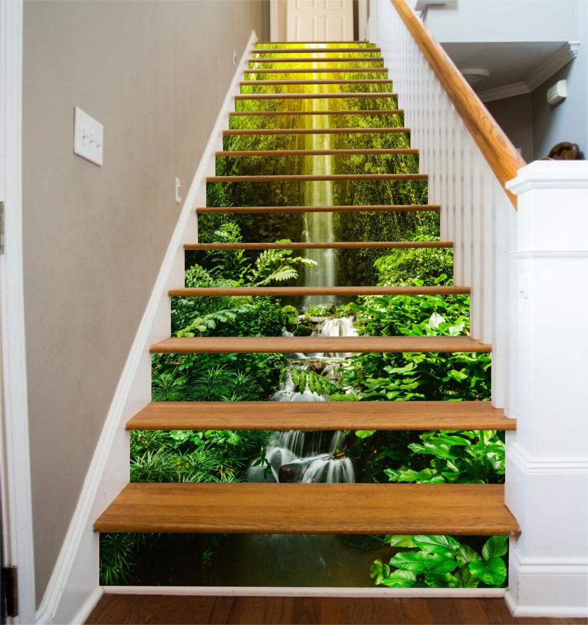 3D Graceful Falls 3 Stair Risers Decoration Photo Mural Vinyl Decal Wallpaper AU
