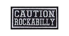 Caution Rockabilly Biker Heavy Rocker Patch Aufnäher Kutte Bügelbild Badge Music