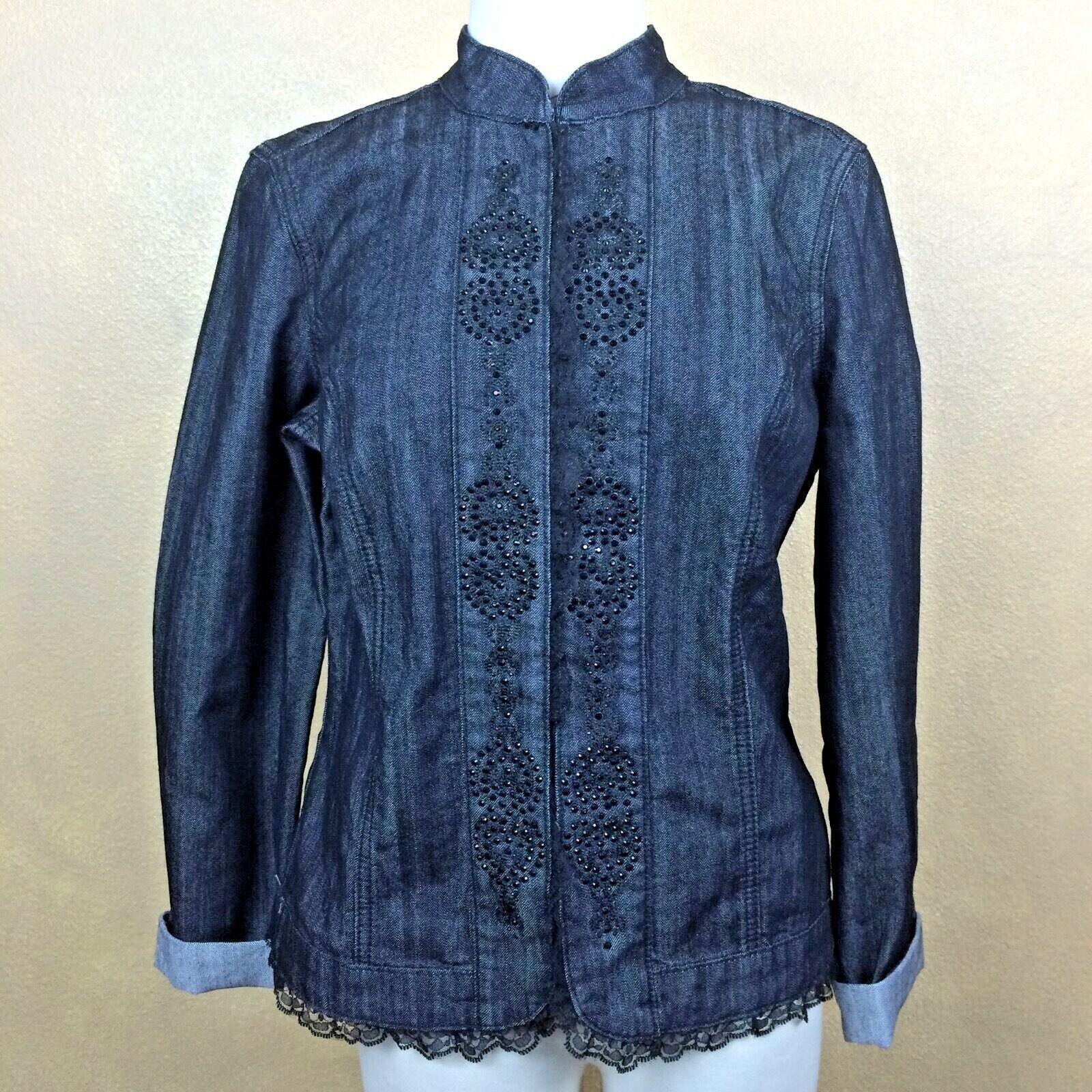 Baccini Black Jean Jacket w Lace Black Rhinestones Cotton Blend Denim S