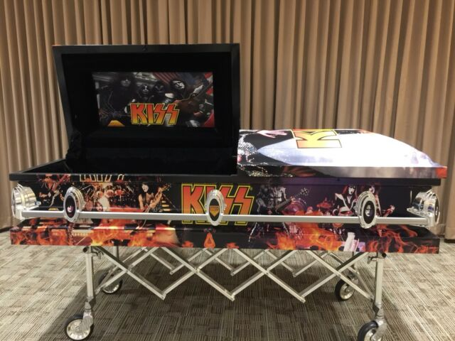 Kiss Kasket coffin casket rock band Gene Simmons Paul Peter Ace
