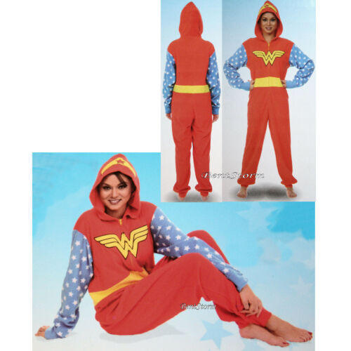 DC COMICS WONDER WOMAN ADULT 1PC Costume PJS Fleece Hooded NON Footed Pajamas