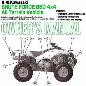2005 kawasaki brute force 650 4x4 atv owners manual kvf650d1 rh ebay com kawasaki atv repair manual download kawasaki atv service manual free download