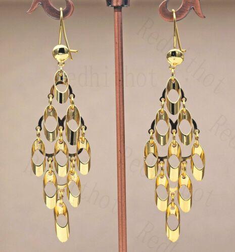 """18K Gold Filled 3.2/"""" Boucles d/'oreilles Cercle Boucles Symétrie Chandelier Eardrop Parti SW"""