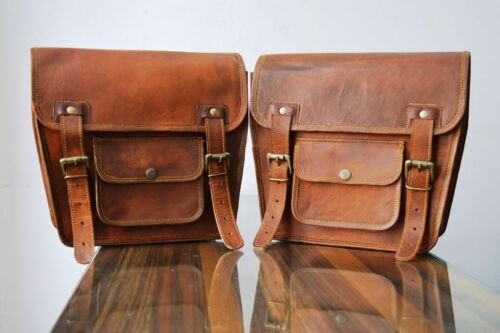 Motorcycle Side Pouch Brown 2 Bags Leather Side Pouch Saddlebags Saddle Panniers
