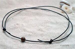 Señores de cuero marrón de cuero cadena nuevo collar de estilo surfista de estilo surfista señores cadena