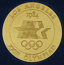 1984 Los Angeles OLYMPICS gold Volunteer Participation medal in box